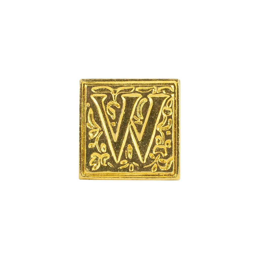 "Freund Mayer Florentine Square Brass Seal Filigree ""W"""