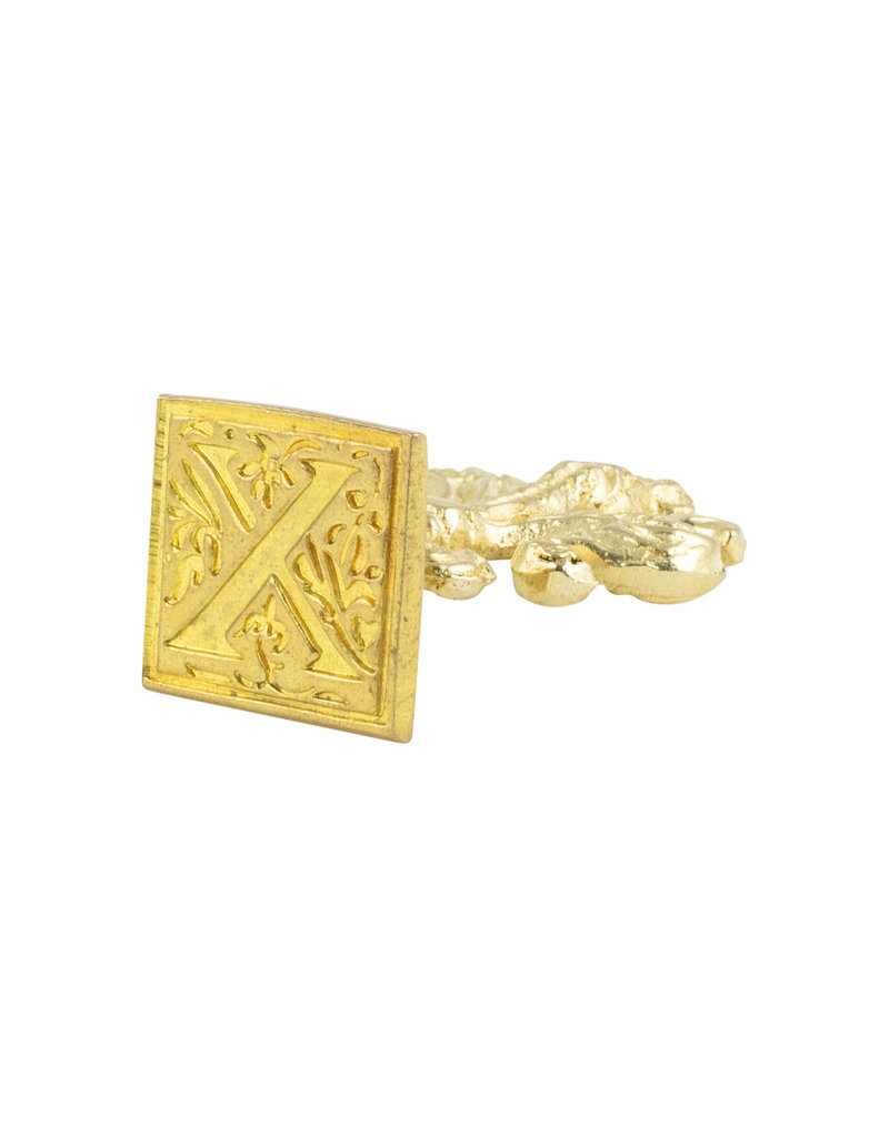 "Freund Mayer Florentine Square Brass Seal Filigree ""X"""