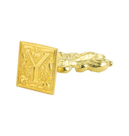 "Freund Mayer Florentine Square Brass Seal Filigree ""Y"""