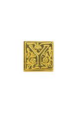 """Freund Mayer Florentine Square Brass Seal Filigree """"Y"""""""