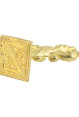 "Freund Mayer Florentine Square Brass Seal Filigree ""Z"""