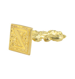 "Freund Mayer Florentine Square Brass Seal Filigree ""Z"""