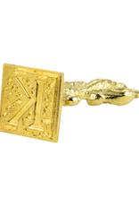 "Freund Mayer Florentine Square Brass Seal Filigree ""K"""