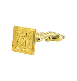"Freund Mayer Florentine Square Brass Seal Filigree ""K"""