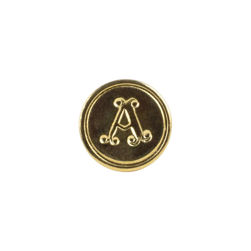 """Freund Mayer Florentine Round Brass Seal Cerif """"A"""""""