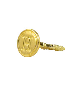 "Freund Mayer Florentine Round Brass Seal Cerif ""H"""