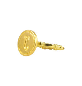 "Freund Mayer Florentine Round Brass Seal Cerif ""J"""