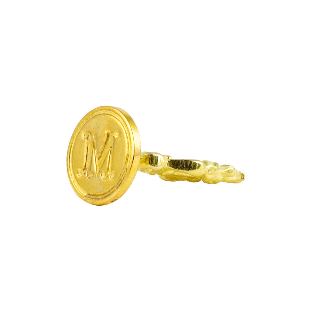 "Freund Mayer Florentine Round Brass Seal Cerif ""M"""