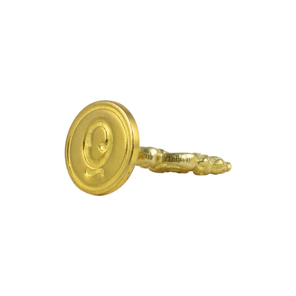 """Freund Mayer Florentine Round Brass Seal Cerif """"Q"""""""