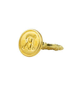 "Freund Mayer Florentine Round Brass Seal Cerif ""R"""