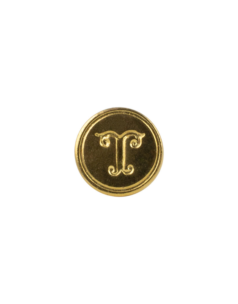 """Freund Mayer Florentine Round Brass Seal Cerif """"T"""""""
