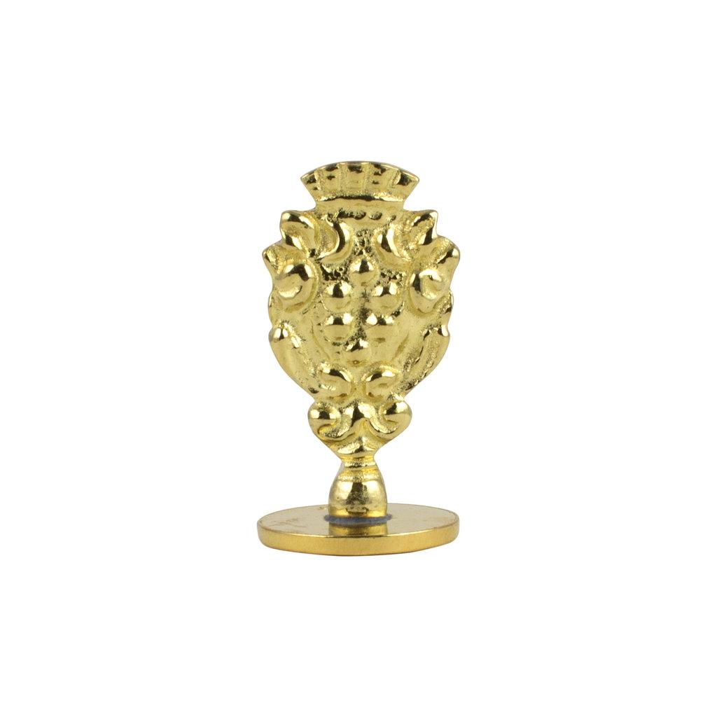 """Freund Mayer Florentine Round Brass Seal Cerif """"V"""""""