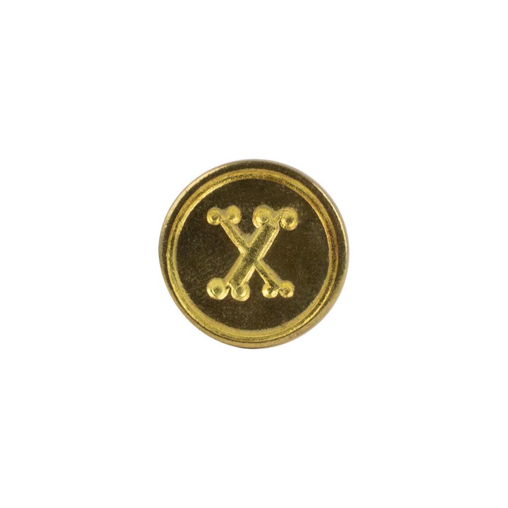 """Freund Mayer Florentine Round Brass Seal Cerif """"X"""""""