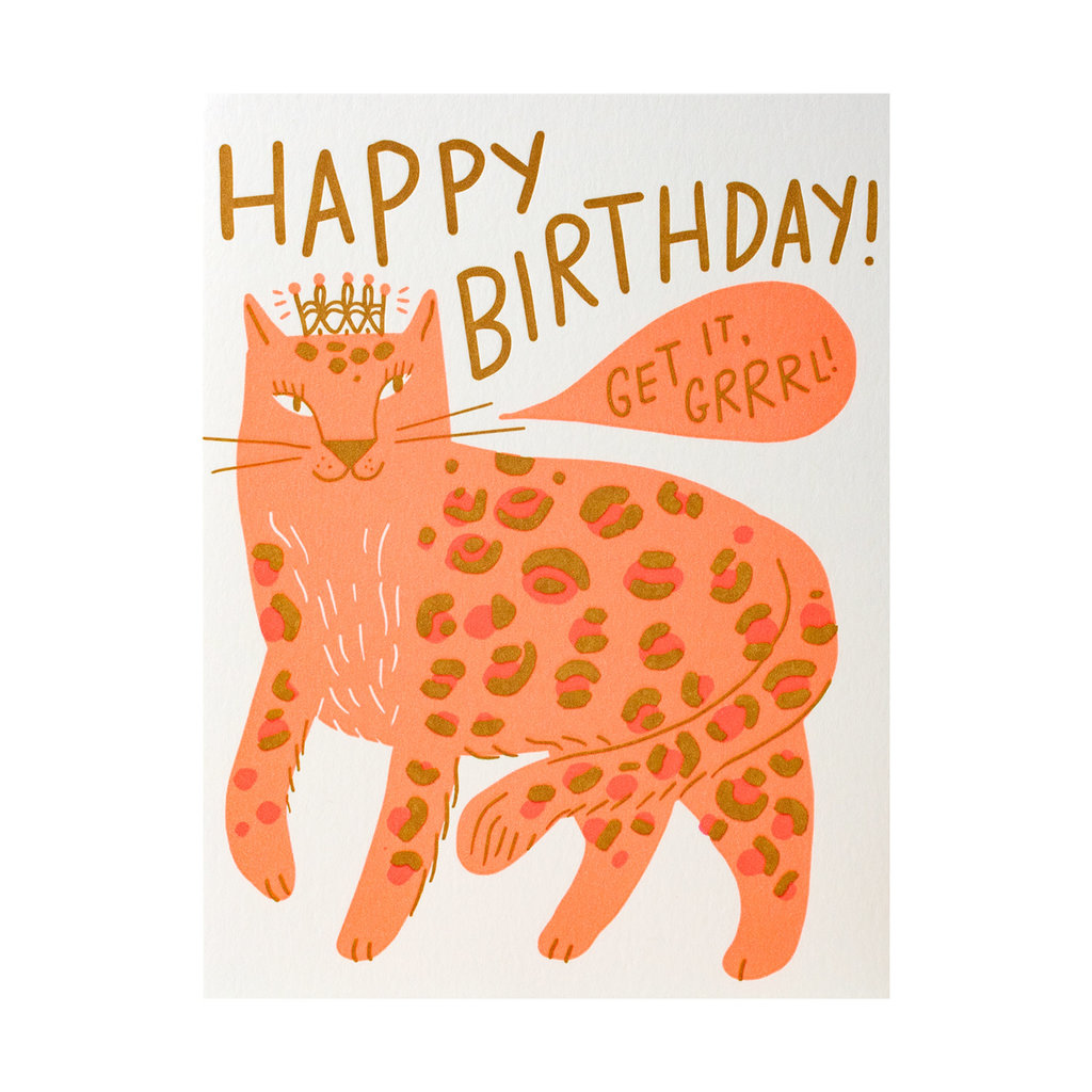 Hello! Lucky Birthday Grrrl Letterpress Card