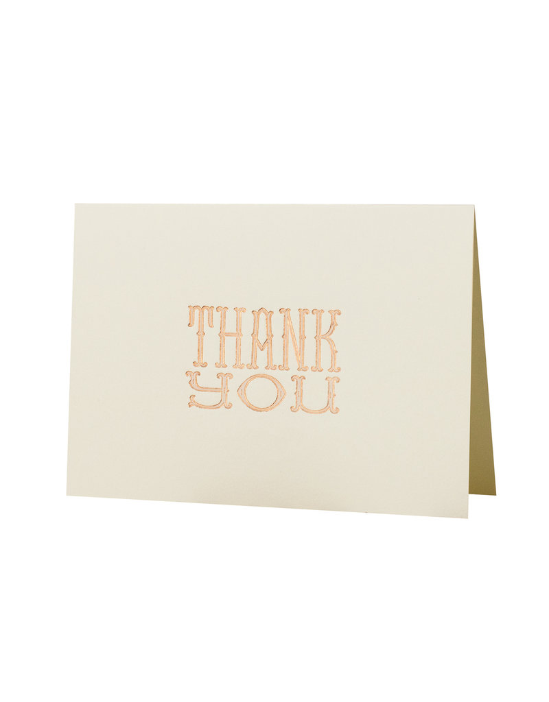 Oblation Papers & Press blush and copper foil thank you card