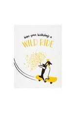 Smudge Ink Skateboarding Penguin Birthday