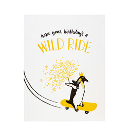Smudge Ink Skateboarding Penguin Birthday