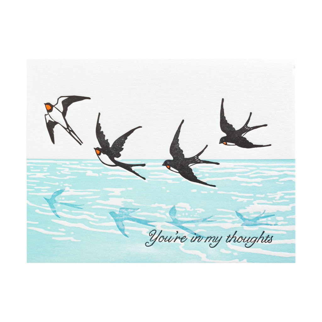 Ilee Papergoods Swallows In My Thoughts Letterpress Card