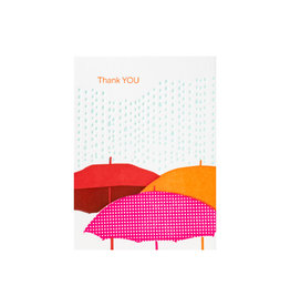 Ilee Papergoods Umbrellas Thank You Letterpress Cards box of 6
