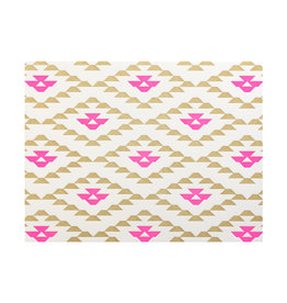 Anemone Letterpress Ziggurat tan, pink box of 6