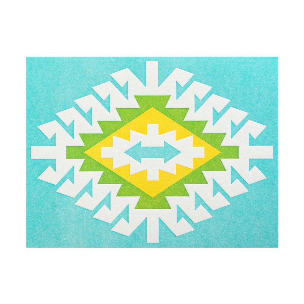 Anemone Letterpress Ardabil blue, green, yellow Box of 6 letterpress cards