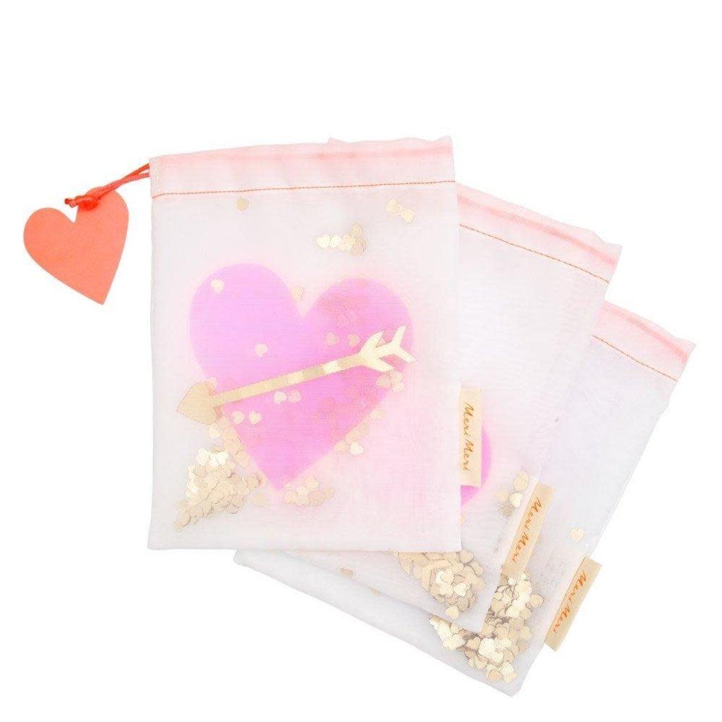 Meri Meri Heart Shaker Medium Gift Bags - Set of 3
