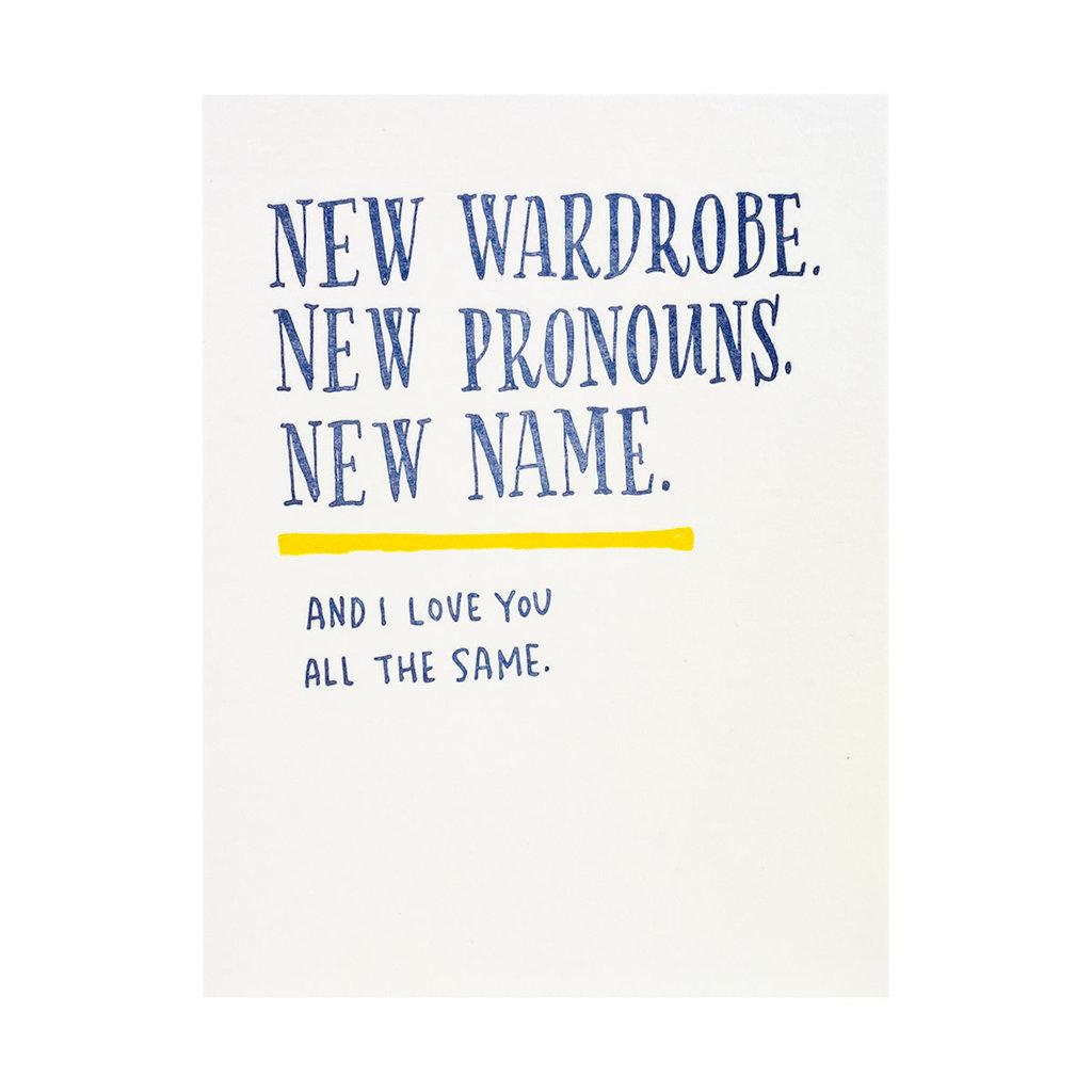 Ladyfingers Letterpress New Wardrobe New Pronouns New Name Letterpress Card