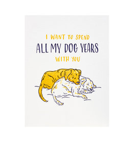 Ladyfingers Letterpress Dog Years - Letterpress Card