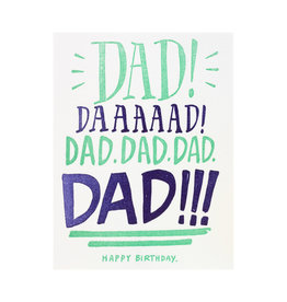 Ladyfingers Letterpress Dad Yelling Birthday - Letterpress Card
