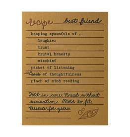 Belle & Union Bread & Butter Best Friend Recipe - Letterpress Card