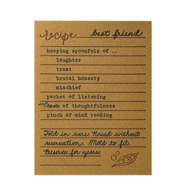 Belle & Union Bread & Butter Best Friend Recipe - Letterpress Card