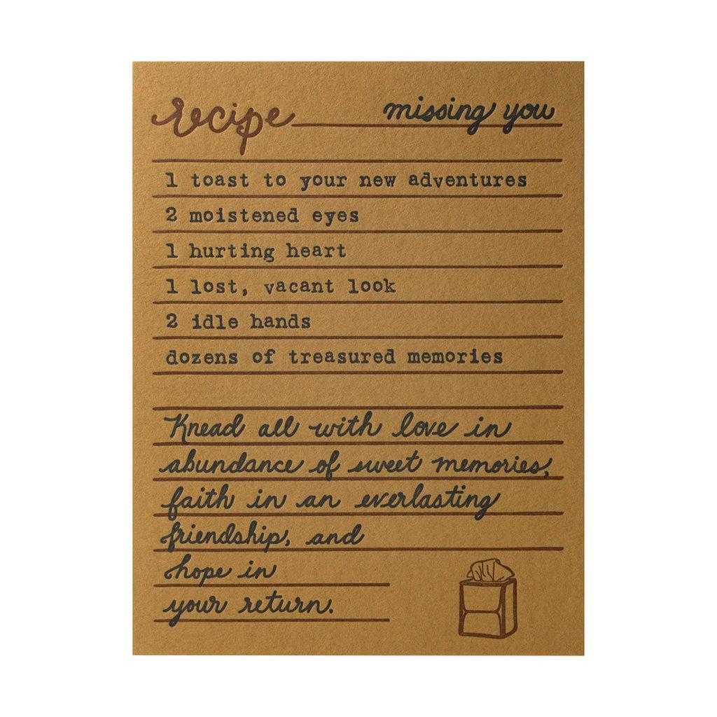 Belle & Union Bread & Butter Missing You Recipe - Letterpress Card