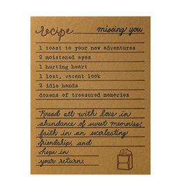 Belle & Union Bread & Butter Missing You Recipe - Letterpress Card