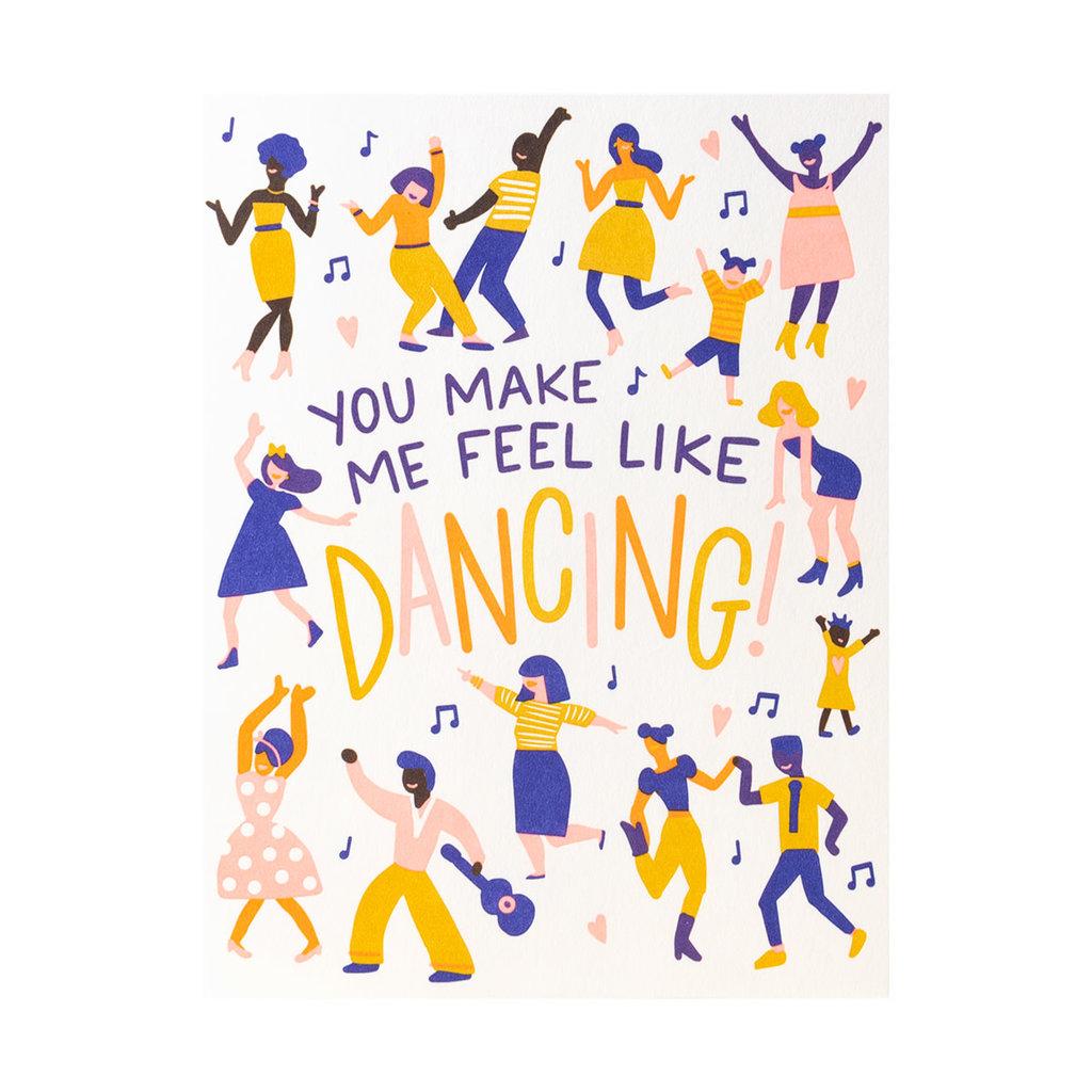 Hello! Lucky Feel Like Dancing Letterpress Card