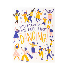 Hello! Lucky Feel Like Dancing Letterpress Card