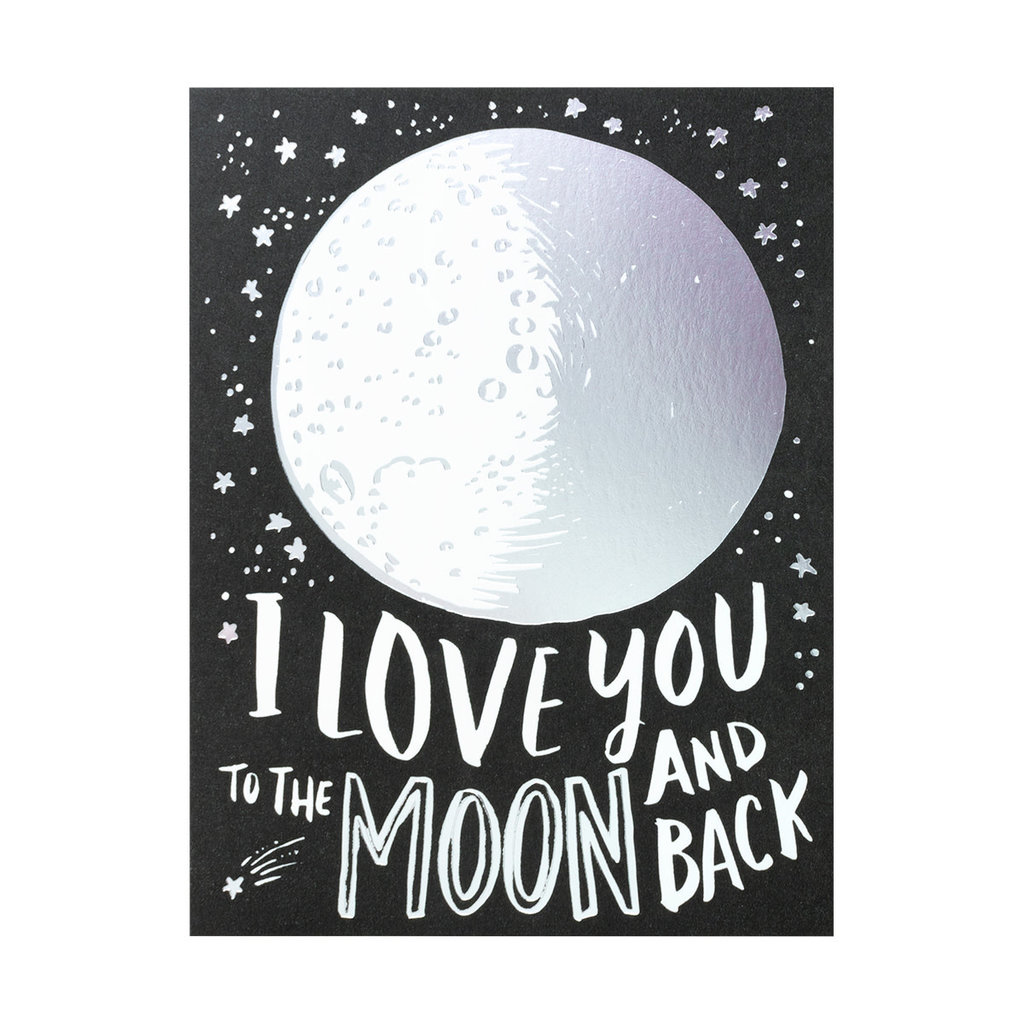 Hello! Lucky Love You To The Moon Letterpress Card