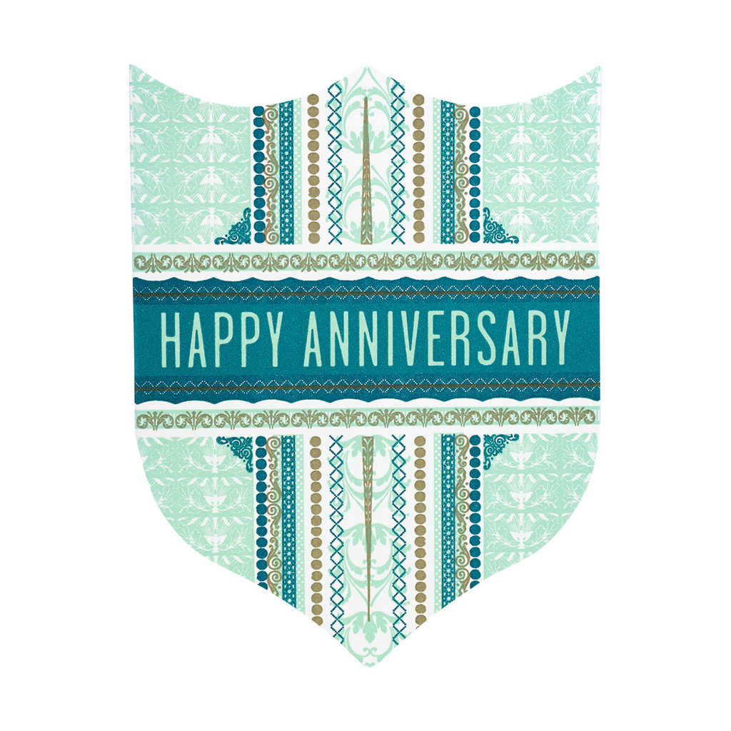 Hammerpress Happy Anniversary Badge Letterpress Card