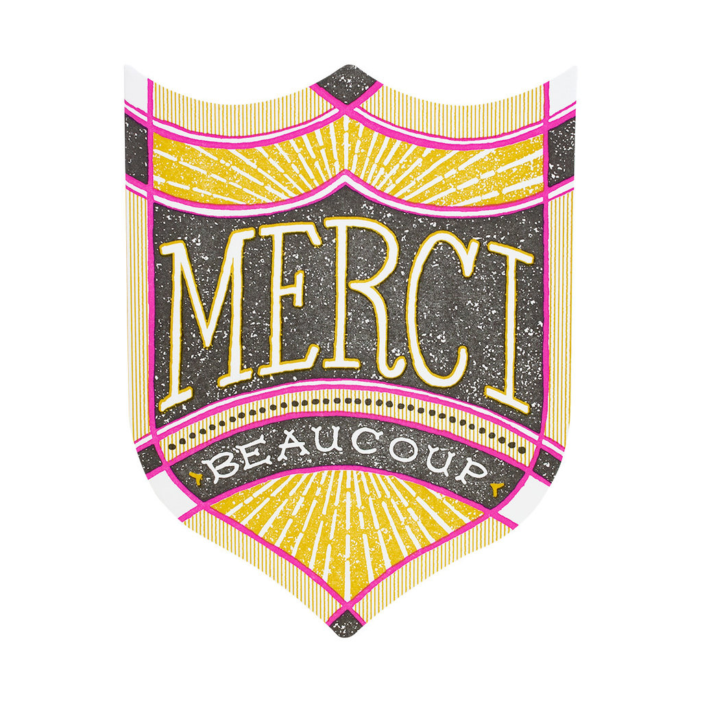 Hammerpress Merci Beaucoup Badge Letterpress Card