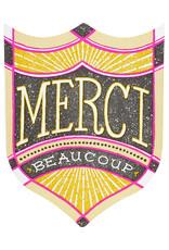 Hammerpress Merci Beaucoup Badge Letterpress Card