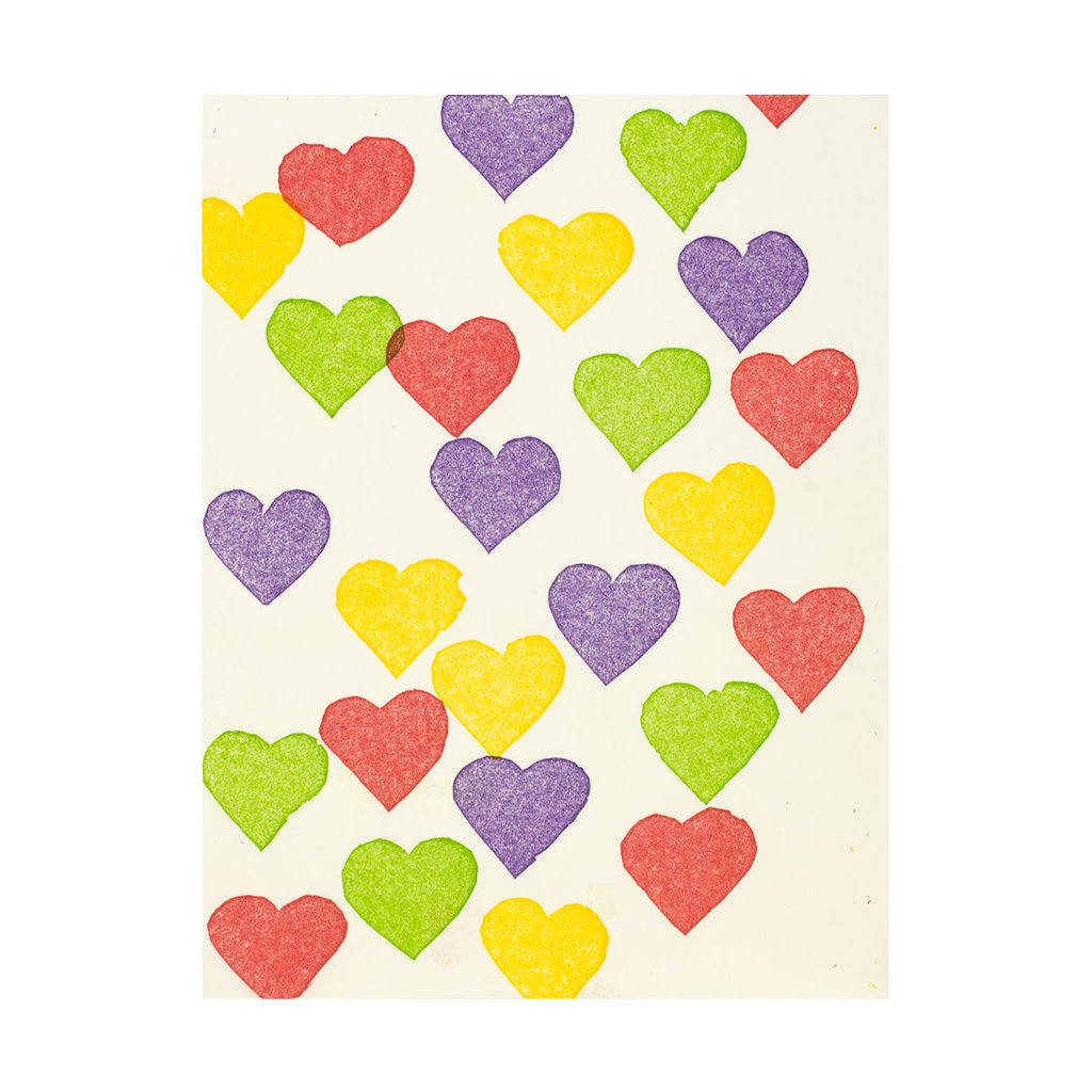 PushMePullYou Press Mini Colorful Hearts Letterpress Card