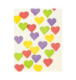 PushMePullYou Press Mini Colorful Hearts - Letterpress Card