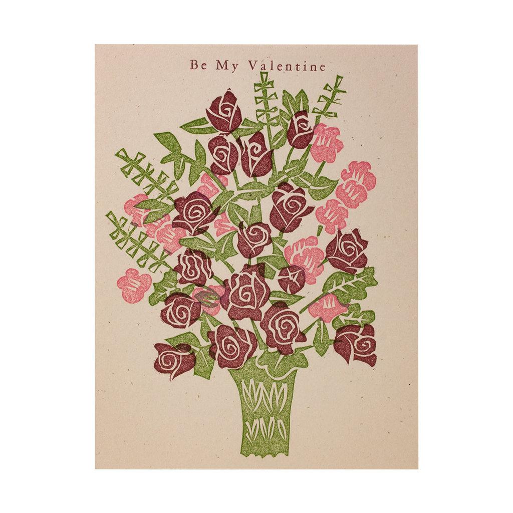 PushMePullYou Press Be My Valentine Bouquet - Letterpress Card