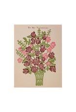 PushMePullYou Press Be My Valentine Bouquet Letterpress Card