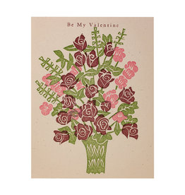 PushMePullYou Press Be My Valentine Bouquet - Letterpress Card