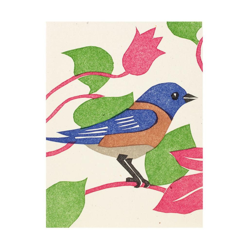PushMePullYou Press Bluebird Letterpress Card