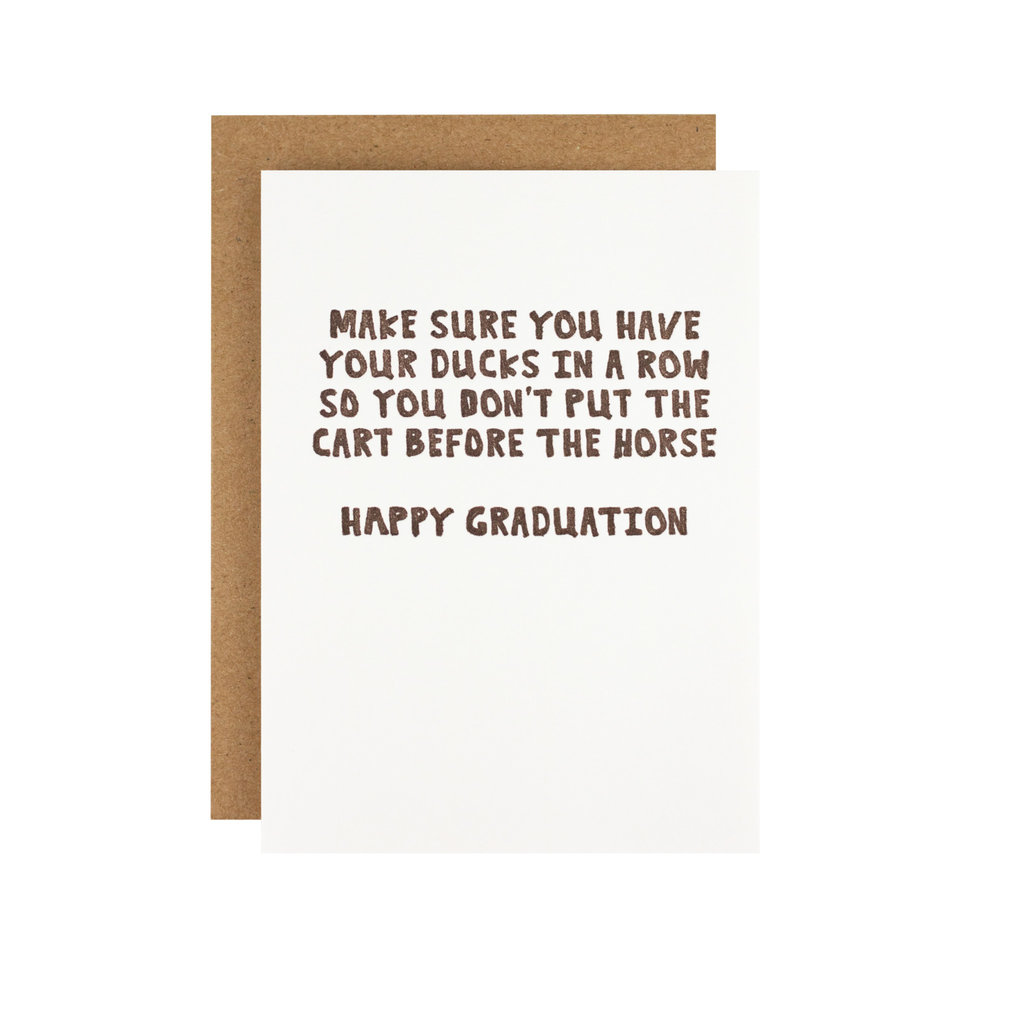 Hat + Wig + Glove Have Your Ducks In a Row Graduation - Letterpress Card