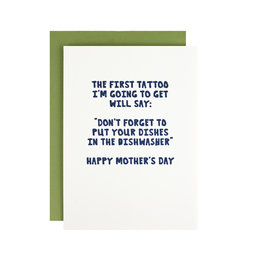 Hat + Wig + Glove tattoo mother's day - letterpress card
