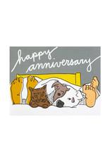 La Familia Green Pets in Bed Anniversary Card