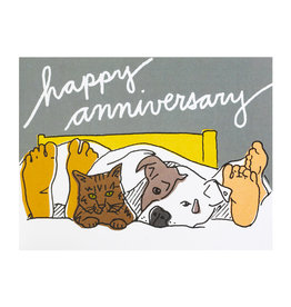 La Familia Green Pets in Bed Anniversary Card