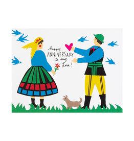 La Familia Green folk anniversary card